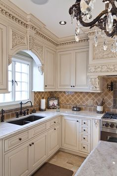 Custom Carved Kitchen & Stools In New Jersey Tuscan Kitchen Design, Kitchen Bar Design, Luxury Kitchen Design, Home Decor Kitchen, Interior Design Kitchen, Elegant Kitchens, Luxury Kitchens, Beautiful Kitchens, Home Kitchens