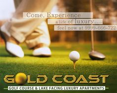 Welcome to a life cast in 24 carat gold. Presenting luxurious 2 & 3 BHK apartments overlooking the golf course and the magnificent lake at Crossing Republik, Ghaziabad.  A stone's throw away from Noida, 0 kilometers from NH 24 near the proposes metro station.  Come, experience a life you have always wished for. 9999-666-722 | www.thegoldcoast.in