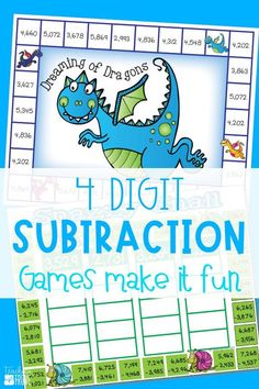 Four digit subtraction with regrouping can be so much fun with games. Perfect for centers and small groups, your 3rd grade and students are going to love practicing subtraction with regrouping with these subtraction games. #fourdigitregrouping #subtractionregrouping