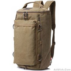 Retro Multifunction Gym Shoulder Bag Canvas Camping Backpack Men Large Bucket Travel Outdoor Rucksack #campingbackpack #campingbags
