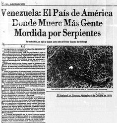 En Caracas se hizo el primero congreso de ofidiología Publicado el 6 de octubre de 1976