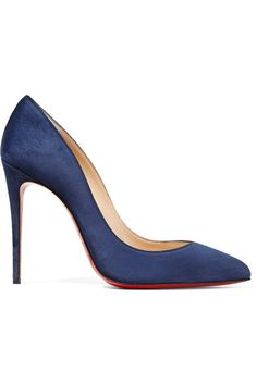 Heel measures approximately 100mm/ 4 inches Navy suede Slip on Designer color: Night Made in Italy Small to size. See Size & Fit notes.
