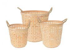 Σετ Πλεκτά Καλάθια 3 τεμ. από Μπαμπού Bamboo με Λαβές σε Φυσικό χρώμα