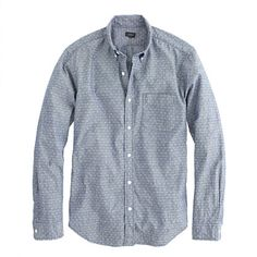 Crew for the Slim chambray shirt in diamond dot for Men. Find the best selection of Men Shirts & Tops available in-stores and online. Styles P, Work Shirts, Dapper, Dress To Impress, Work Wear, J Crew, Menswear, Slim, Shirt Dress