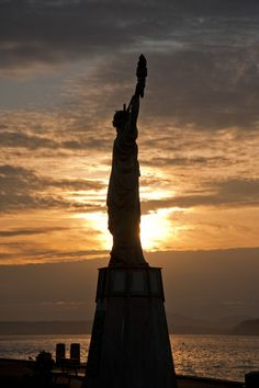 Statue-ette of Liberty, Alki Beach, Seattle.  Gets stolen every so often and then returned.