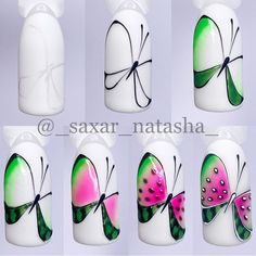 Cartoon Nail Designs, Fruit Nail Designs, Nail Art Designs Videos, Pretty Nail Art, Cool Nail Art, Birthday Nail Designs, Fruit Nail Art, Gel Nail Tips, Butterfly Nail Art