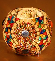 Picture of Mosaic Tealight Holder Mosaic Flower Pots, Mosaic Pots, Mosaic Diy, Mosaic Crafts, Mosaic Glass, Candle Holder Decor, Candle Lamp, Glass Candle Holders, Turkish Lamps