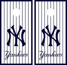 New York Yankees Cornhole Board Decal Wrap  by CornholeGraphics