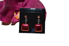 Red Dichroic Dangle Earrings, Fused Glass, Garnet, Sterling Silver, Christmas, Valentine's Day by PurpleSlugGlassArt on Etsy