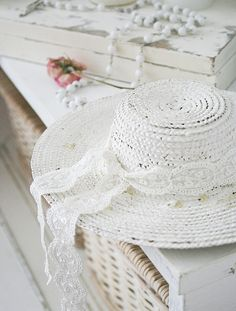 My neighbor Mrs. Daisy Callaway doesn't wear hats much, but she still wears the first hat I ever made. She says because it is white, it goes with everything......