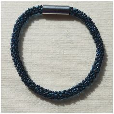 Transparent Blue with Solid Black Middle Bead crochet rope bracelet via CherryLime Accessories. Click on the image to see more!