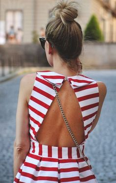 Red striped dress with open back.. Wear a blue cami under it and a blue bubble necklace and you have a cute fourth of July outfit!!