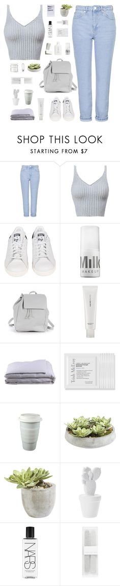 """Twist and Shout"" by cbear99 ❤ liked on Polyvore featuring Topshop, adidas, MILK MAKEUP, Zara TRF, AmorePacific, Frette, Trish McEvoy, Ethan Allen, NARS Cosmetics and Obsessive Compulsive Cosmetics"