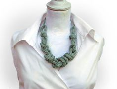 Statement necklace, aqua green cotton, nautical knots, knitted adjustable necklace , office fashion