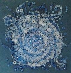 Beaux-arts tridimensionnel papier original, roulé papier papier d'art art, blanc, argent et bleu sur Etsy, 1.773,58€