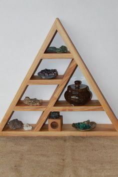 Triangle Shelf Crystal Display Meditation Shelf Altar Shelf wooden shelf rustic shelf pyramid shelf (With images) Woodworking Bench Top Ideas, Woodworking Saws, Woodworking Projects, Woodworking Classes, Woodworking Videos, Ikea Shelves, Rustic Shelves, Wooden Shelves, Display Shelves
