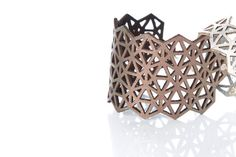 Iskin Mila Bracelet Medium - Leather - Geometric design - Laser cut Leather - Cuff - Contemporary Jewelry