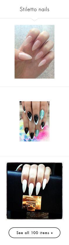 """Stiletto nails"" by stephanie-moscone ❤ liked on Polyvore featuring beauty products, nail care, nail treatments, nails, makeup, nail polish, nail art, beauty, unha and nails/nail polish"