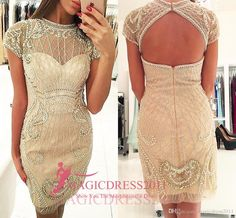 Elegant Short Champagne Prom Evening Dresses 2016 Sheath High Neck Heavily Embellished Major Beaded Backless Formal Party Celebrity Gowns Party Prom Dresses Beaded Formal Evening Gown Crystal Evening Gowns Online with 150.0/Piece on Magicdress2011's Store | DHgate.com
