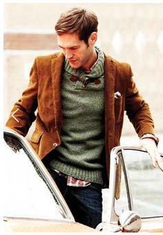 brownish corduroy blazer, green wool sweater, red checkered shirt, jean / men fashion