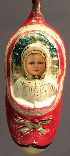 Vintage Large - SCRAP FACE GIRL IN SHOE - Christmas Ornament - 5.3 inches.