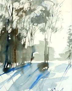 New England Winter-Scape No.68, limited edition of 50 fine art giclee prints from my original watercolor