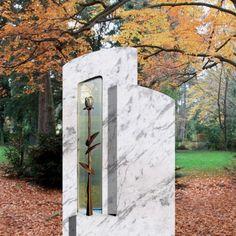 Exklusives Grabstein Ensemble mit Bronze Rose • Qualität & Service direkt vom Bildhauer • Jetzt Grabstein online kaufen bei ▷ Serafinum.de