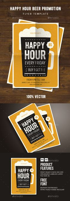 Happy Hour Beer Promoton Flyer Template PSD, AI Illustrator