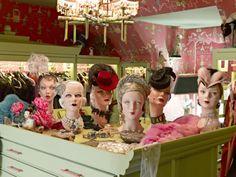 Dita Von Teese's dressing room, using DecoEyes mannequin heads