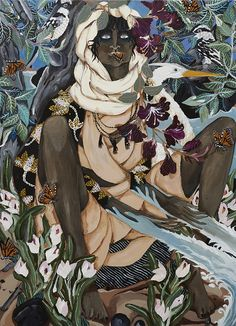 Sydney based artist, Leah Fraser's latest exhibition 'Within You, Without You' is intricately detailed and dream-like, exploring the cycle of life through anthropomorphic characters that weave their way in to and and out of a whimsical landscape… The magical experience of becoming a mother was a... Creation Myth, Cycle Of Life, African Diaspora, African American Art, Ancient Artifacts, Gods And Goddesses, Surreal Art, Black Art, Life Is Beautiful