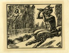 Pan et la nymphe Syrinx DESLIGNERES André (graveur), gravure sur bois.