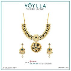 shop Sparkling Gems Studded #Necklace #Set for #Women online at best prices in India from Voylla.
