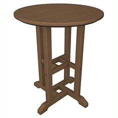 POLYWOOD RT124TE Traditional 24 Round Dining Table Teak *** Amazon most trusted e-retailer #OutdoorFurniture