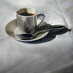 Mysterious and moody painting of an espresso.  James Neil Hollingsworth painting
