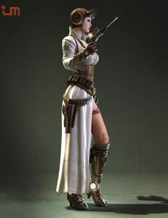 Steampunk Leia CGI/Render - more angles at link. It's fun to see the art that inspired the cosplay! (Can't find the original source for the life of me, but I *think* this is by Bjorn Hurri.)