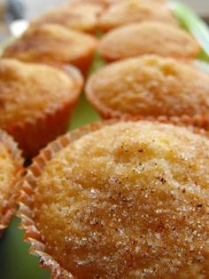 These muffins have the perfect combination of flavors. Made with fresh lemon zest and topped with cinnamon and sugar, these muffins will disappear quickly! Orange Recipes, Sweet Recipes, Cake Recipes, Portuguese Desserts, Portuguese Recipes, I Love Food, Good Food, Yummy Food, Tasty