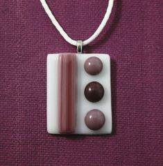 Purple Fused Glass Pendant with Satin Necklace by UniqueGlassTreasures on Etsy