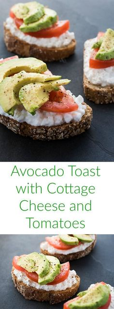 Toast with Cottage Cheese and Tomatoes is the perfect quick and easy no-cook meal – ideal for breakfast, lunch or a snack.Avocado Toast with Cottage Cheese and Tomatoes is the perfect quick and easy no-cook meal – ideal for breakfast, lunch or a snack. Breakfast Toast, Breakfast Recipes, Breakfast Ideas, Breakfast Healthy, Cottage Cheese Breakfast, Avocado Breakfast, Breakfast Snacks, Cottage Cheese Snacks, Healthy Cottage Cheese Recipes