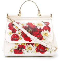 Dolce & Gabbana Poppy Print Miss Sicily Medium Handbag ($1,675) ❤ liked on Polyvore featuring bags, handbags, white, man tote bag, dolce gabbana handbag, colorful purses, top handle handbags and tote hand bags
