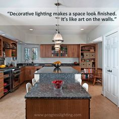 """Emily from @synergydandc shares how decorative #lighting contributes to the interest of a room in our Designer Series blog post. """"It's like art on the walls."""""""