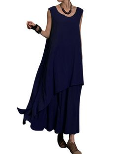 Gracila Vintage Layered Irregular Sleeveless O-neck Maxi Dress For Women