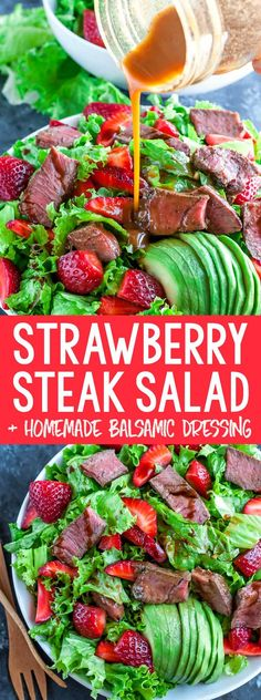 Ready in under 25 minutes, this Strawberry Steak Salad with Homemade Balsamic Dressing is quick and easy enough for lunch or weeknight dinner! It's a little bit sweet, a little bit savory, and a whole lot of deliciousness in every bite! Salad Dressing Recipes, Chicken Salad Recipes, Beef Recipes, Cooking Recipes, Healthy Recipes, Steak Salad Dressing, Salad With Steak, Quick Salad Recipes, Recipies