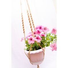 "Macrame Plant Hanger 50"" Long Plant Holder Beige Large Hanging Planter... (€12) ❤ liked on Polyvore featuring home, outdoors, outdoor decor, macrame plant holder, macrame plant hanger and macrame planter"