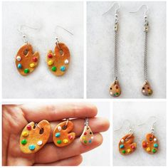Paint Palette Polymer Clay Earrings / Art / Artist by fujerful http://etsy.me/1tj7aQX via @Etsy