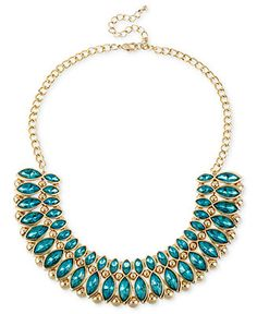 Haskell Necklace, Gold-Tone Teal Bead Frontal Necklace - Fashion Jewelry - Jewelry & Watches - Macy's