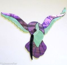 HUMMINGBIRD precut stained glass mosaic inlay, Iridescent purple and green. Many original designs selling on ebay.