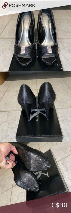 Black K-studio peep toe heel Gently worn black peel toe heel with silver beaded brooch. Size 5.5. In 9/10 condition. No scuffs in material. Shoes Heels