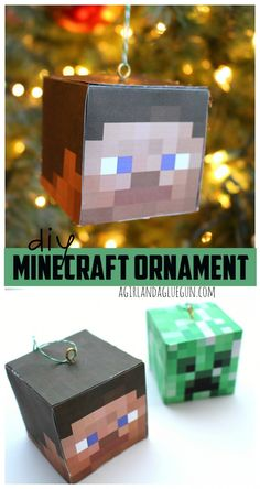 Can& find a Minecraft Christmas ornament virtually anywhere? Look no further and give this DIY Minecraft ornament a try! This quick and easy homemade Christmas craft is the perfect gift for boys who enjoy computer games. Homemade Christmas Crafts, Paper Christmas Ornaments, Christmas Crafts For Kids, Xmas Crafts, Christmas Projects, Christmas Fun, Minecraft Christmas Tree, Christmas Decorations, Minecraft Gifts
