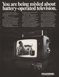 "1967 PANASONIC TELEVISION vintage magazine advertisement ""You are being misled"" ~ You are being misled about battery-operated television.  -  Panasonic Valley View  -  Model TR-238B ~"