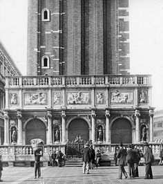 Old picture of the base of the campanile.